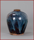 blue glazed pottery vase