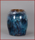 blue glazed pottery urn
